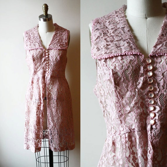 1960s rose lace tunic // lace dress // vintage dress