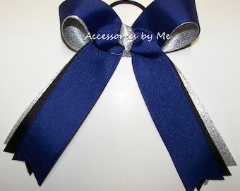 Bow Bundle, Blue Black Silver 12 Cheer Bows, Cheap Bulk Lot, Ponytail Pigtails Elastics, Cheerbows, Cheerleader, Volleyball, Softball, Team