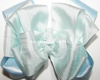 Light Blue Hair Bow, Pure 100% Silk Satin Ribbon, Girls Baby Toddler Clip, Church Easter, Pageant Barrette, Flower Girl Bows, Hairbows Clips
