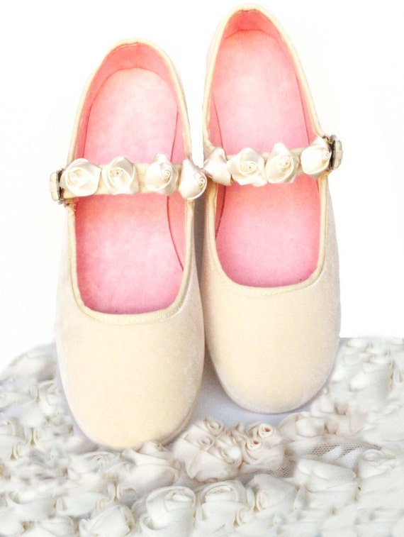 Velvet Bridal Flats Dance Shoes Mary Jane Shoes By