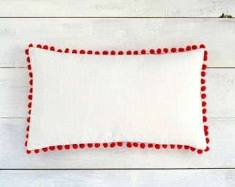 "Pom Pom Lumbar Pillow Cover - Linen Look -  12"" x 20"" - Valentines, Decorative Pillow, Red Pom Pillow, White Pillow"
