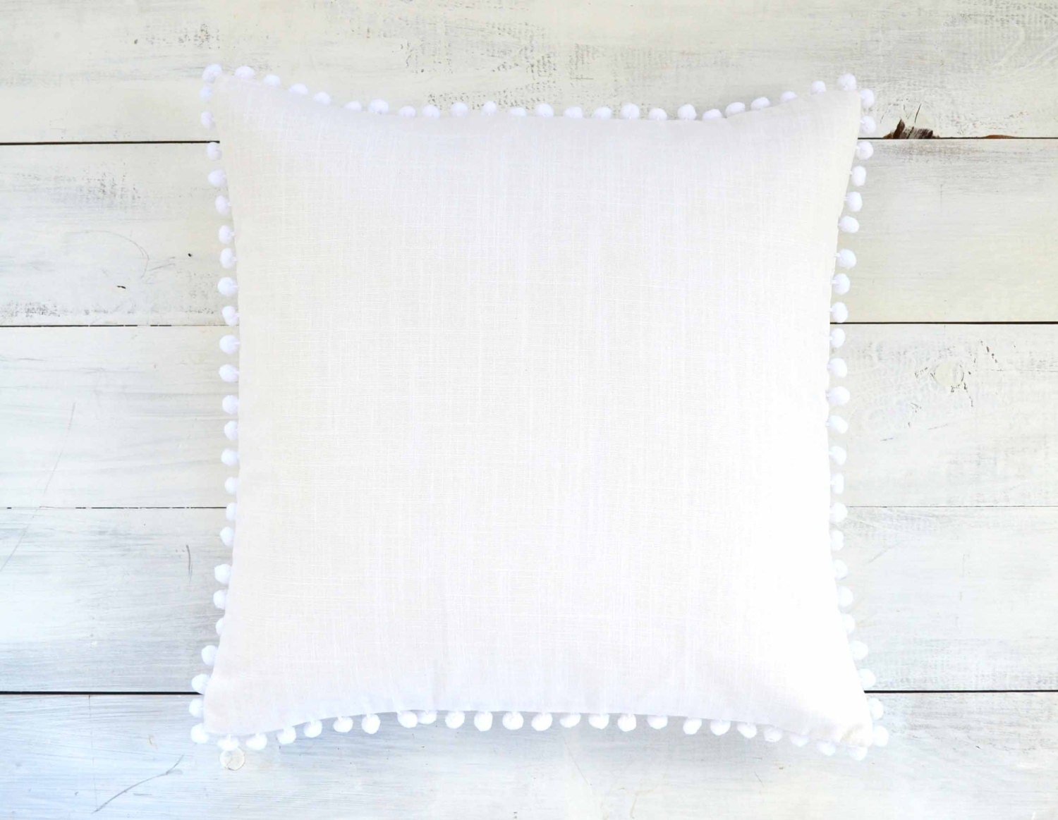 White Pom Pom Pillow Cover - 20 x 20 - Decorative Pillow, Throw Pillow, Pom Pom Pillow Cover ...