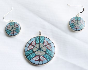 Polymer clay millefiori cane sterling silver earring and pendant set