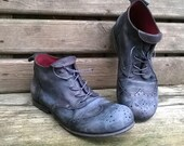 Handmade distressed  leather brogue shoes Dark Side of the Moon