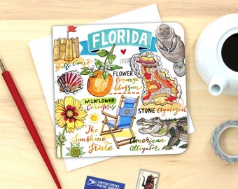 Florida notecard. Single card or Pack of 4.