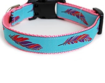 Feathers Dog Collar, Pink, Aqua, Summer Dog Collar, Cute, Reflective Dog Collar, Boho Dog Collar for Small Dogs - Colorful Feathers