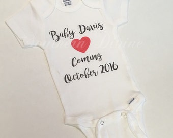 ONE Baby Announcement bodysuit, New Baby Coming, Pregnancy Photo Shoot Prop, Baby Shower gift, 0-3m, ANY Size available