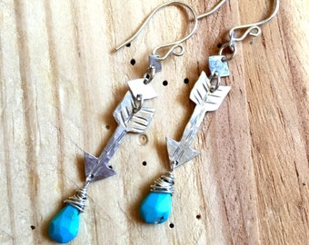 Eco friendly handcut Arrows and Diamonds Earrings with Sleeping Beauty Turquoise Gemstones made with Recycled Argentium Silver (.935)