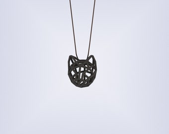 RUBBER CAT SMALL / 3D printed rubber-like pendant