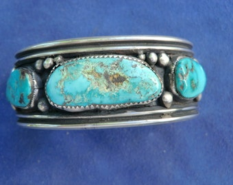 Genuine Old Pawn Silver and Turquoise Cuff