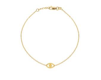 Tiny 14k Gold Evil Eye Bracelet