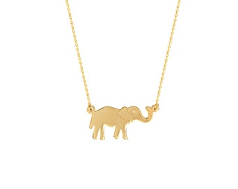 Lucky 14k Gold Elephant Pendant/Necklace