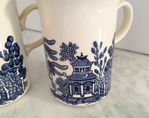 Blue Willow Mugs, Vintage Blue Willow, Made in England, Blue White Mug, Chinoiserie Mug