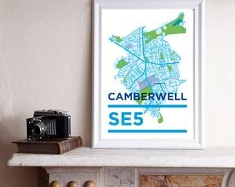 SE5 Print / Camberwell Print, South East London, London Map, A3 Print, London Print, South London Print