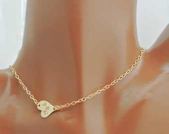 Personalized Gold Filled Sideways Heart Necklace Custom Engraved Free