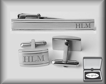 Personalized Cufflinks, Two Tone Cufflinks Tie Clip Set Engraved Free, Groomsman Gifts, Personalized Wedding Favors, Buy 6, Get 7th Free