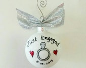 Just Engaged Bride Weddings Christmas Ornament bridal engagement proposal diamond ring Gift