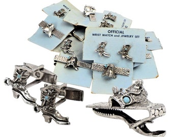 A Lot of Five Sets of Vintage Western Cufflinks & Tie Clips.
