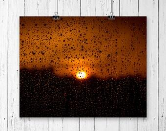 Sunset Photography Orange Wall Decor Rain Drops Nature Art Mountain Photo Rain Photography Office Decor Calming Water Drops Summer Storm Art