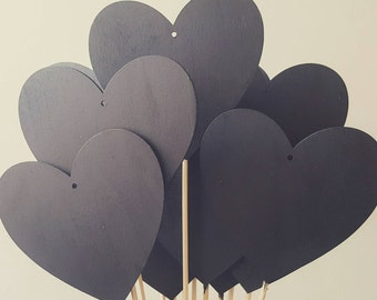 10cm large chalkboard heart for weddings parties table numbers or names