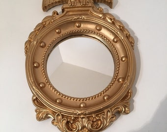 Vintage 1960s Wall Mirror Federal American Eagle Small Accent Mirror