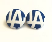 Handmade LA dodgers blue and white baseball fabric button earrings
