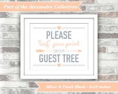 INSTANT DOWNLOAD - Printable Wedding Guest Tree Sign - Fingerprint Guestbook - 8x10 Digital Files - Leaf Your Print - Silver Peach Blush