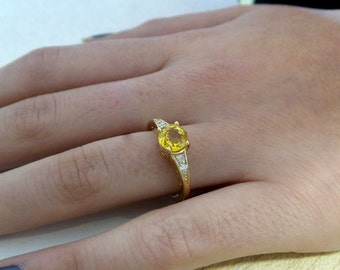 14k Gold Yellow Sapphire Ring/ Natural Yellow Sapphire Ring/ Alternative Engagement Ring/ Sapphire And Diamond Ring/ Bridal Ring/Anniversary