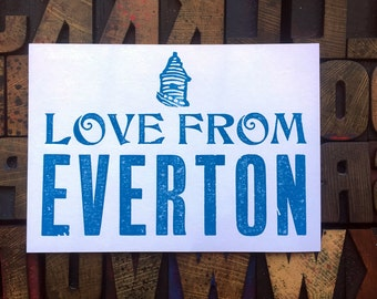 LOVE from Everton postcard Letterpress handprinted card