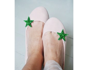Green Glitter Star Shoe Clips Mini, Glitter Fabric Star Shoe Accessory