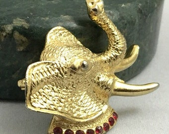 Vintage Golden Elephant with Red Rhinestone Accents Brooch Pin