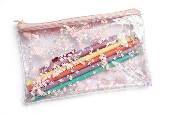 Light Pink Stars Pencil Case Transparent Wallet Clear By