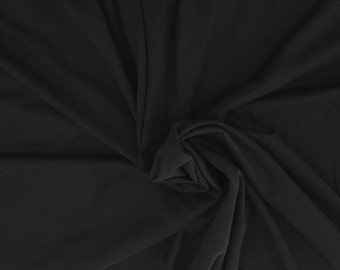Black Organic Cotton Spandex Fabric Eco Friendly Jersey Knit By Yard 4/16