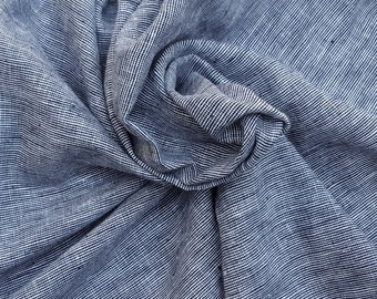 Two Tone Navy White Linen Blend Fabric by the Yard Yarn Dye  4/16