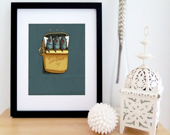 Three sardines in a metal box | navy blue and gold | illustration of fishes in a bed | humor | 3 hearts | ocean sea | 8'' X 10''