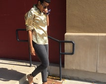 Vtg. Metallic Gloss  Solid Gold Button Down Shirt Blouse