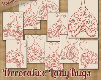 Decorative Ladybugs Redwork Machine Embroidery Patterns / Designs 2 inch, 4x4 and 5x7 Hoop INSTANT DOWNLOAD Outline Style Quilting