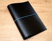 Handmade Leather Traveler's Notebook, Midori style in Regular/Wide size - Black