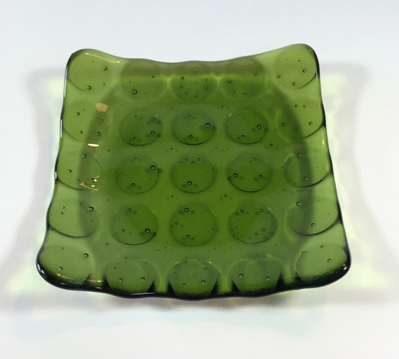 Fused Glass Dish -  Green Serving Dish - Dining & Serving
