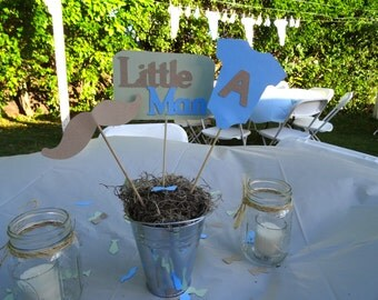 Little Man Centerpiece, Mustache, Onesie