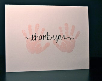 Baby Girl Thank You Cards, Set of 10, Baby Shower Thank You Cards, Pink Baby Handprint, Baby Gift Thank You Card Set