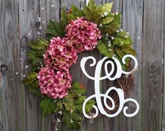 Monogrammed Wreath,Summer Wreath,Wreath,Front Door Wreath,Wreath for Door,Flower Wreath,Custom Wreath,Year Around Wreath,Summer Wreath