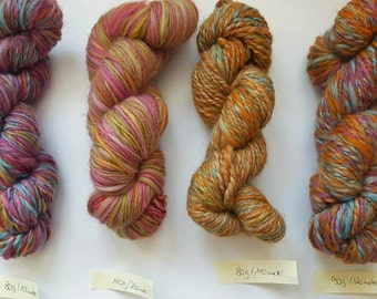 4 skeins of very soft 100%mMerino wool hand dyedhand , handspun orange,pink, turquoise, olive, rose
