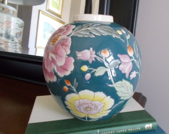 Ceramic Vase,Chinoiserie Vase,Chinoiserie Chic Vase,Cottage Chic Home Decor,French Country Vase,Hamptons Chic,Colorful Ceramic Vase