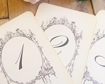 Table numbers 1-10 vintage elegant wedding table numbers