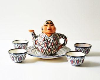 Vintage Uzbek Handmade Pottery Teaset - Lady Teapot