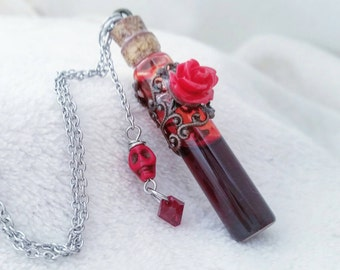 Vampire blood vial - Blood vial necklace - blood necklace - vampire blood - vial necklace - blood vial - gothic jewelry - fake blood vial