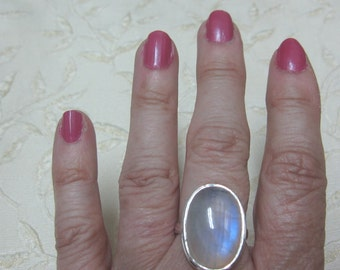 Large Rainbow Moonstone Sterling Silver Ring Size 8