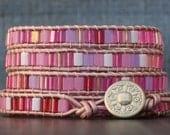 wrap bracelet- pink tiles on blush leather - valentine tile wrap - bohemian boho beach yoga