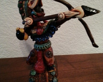 Wooden Indian Figurine with Bow and Arrow